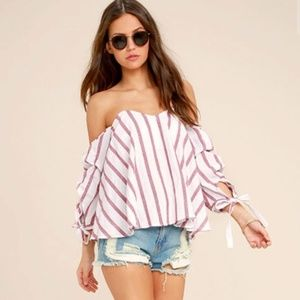 NWT Lulus Striped Off the Shoulder Top Size Med